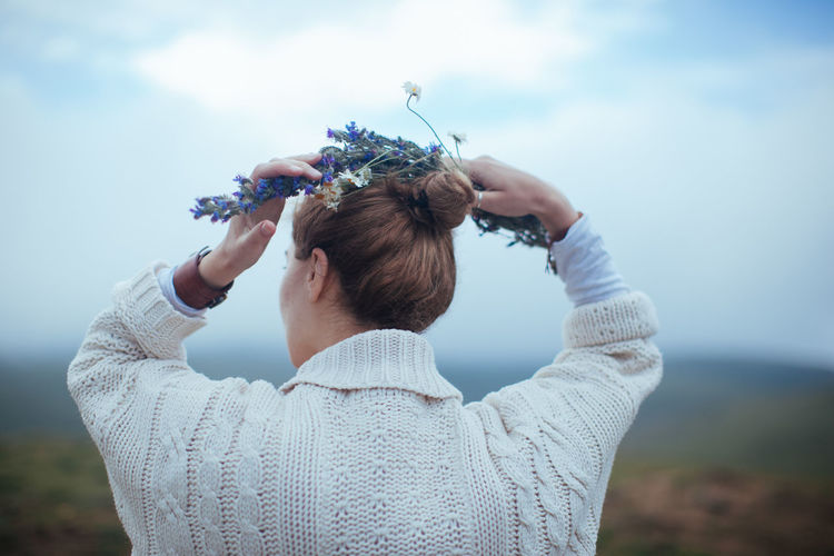 Braided Braids Hair Hairstyle Nature Sky Young Adult Female Girl Woman Feminine  Flowers Mountain Observing