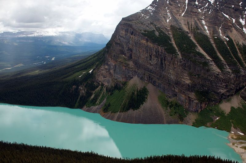 Amazing View Banff National Park  Breathtaking Canadian Rockies  Hiking Lake At The Foot Of A Mountain Travel And Adventure Cloud - Sky Destination Lake Louise  Travel And Adventure