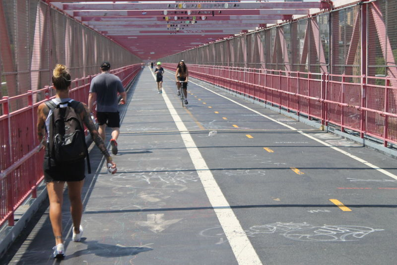 EyeEm Selects Walking Full Length People Day Adult Outdoors City Sports Active DOPE Street Photography NYC Photography EyeEm Eyeemphotography EyeEm Gallery EyeEm Best Shots EyeEmBestPics Architecture Williamsburg Bridge Red Tattoogirl Tattedgirl  Tattoo