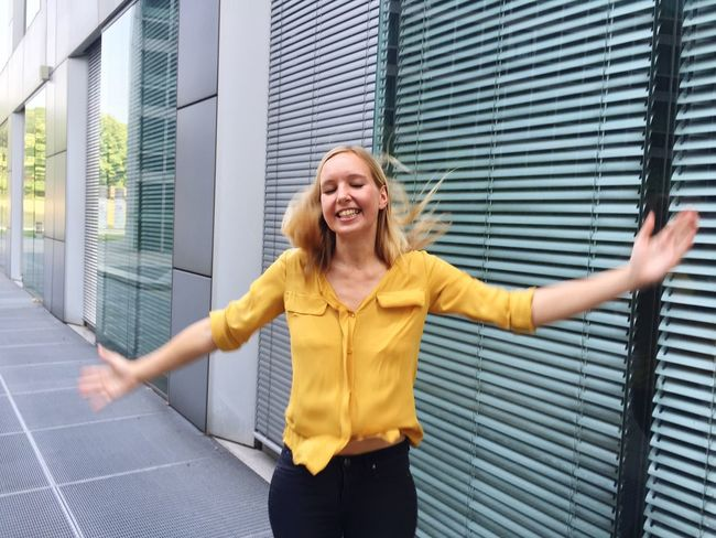 Girl Woman Jumping Urban Joy Happy People Laughing