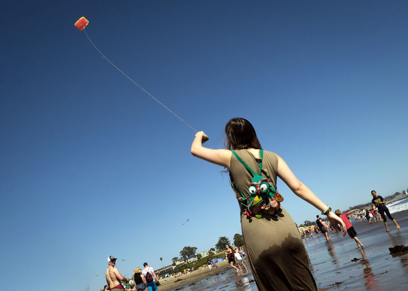 Kite Adult Beach Blue Clear Sky Copy Space Day Enjoyment Group Of People Incidental People Leisure Activity Lifestyles Low Angle View Low-angle Shot Nature Outdoors People Real People Sky Trip Water Women Visual Creativity