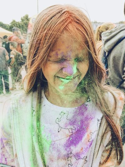 Fun Portrait One Person Lifestyles Front View Headshot Real People The Portraitist - 2018 EyeEm Awards Holi Child Messy Outdoors Multi Colored Paint Smiling