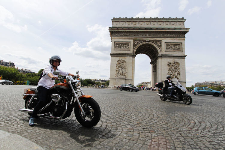 Arc De Triomphe Arch De Triumph France Low-angle Shot Motorcycles Paris Tourist Attraction  Tourist Destination