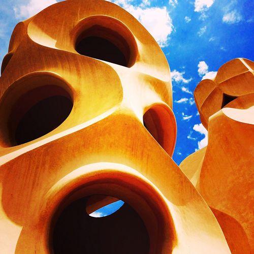 Blue Sky Gaudi Humanlike Rooftop Pedrera  Barcelona Stone People