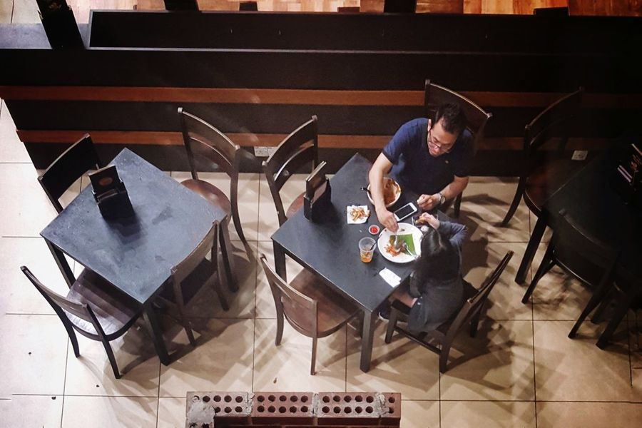 Quality time High Angle View People Indoors  Dinner Dinner For Two Tables And Chairs Restaurant Scene