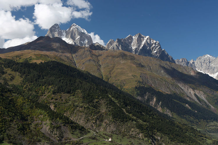 Mountain Sky Landscape Environment Mountain Range Tranquil Scene Nature Tranquility No People Cloud - Sky Outdoors Geology Rock Idyllic Non-urban Scene Mountain Peak Formation Range Georgia Kaukasus Svaneti Svanetia Church Hiking Scenics - Nature Beauty In Nature Day Land Height