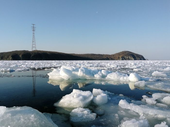 Frozen sea of japan against sky during winter