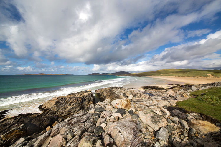 Beach Beauty In Nature Cloud - Sky Cloud Formations Over Beach Landscape Nature No People Nr Nisboist Remote Location Rocky Bay Scenics Scottish Scenery Scottish Treasure Sea Sky Traigh Iar Unspoilt Beauty Western Isles Wide Angle