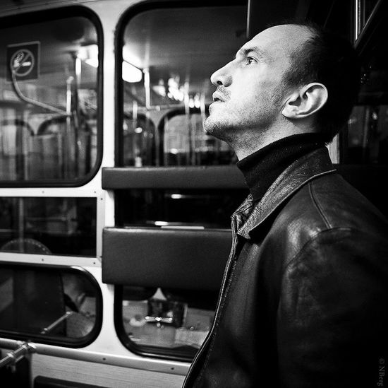 People And Places Looking Away Glass - Material Person Men Portrait Funiculaire  Lyon France Black And White Canonphotography Monochrome Photography The Portraitist - 2017 EyeEm Awards
