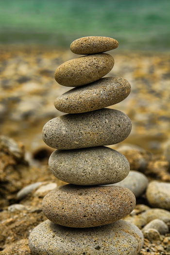 Close-Up Of Stack Of Pebbles