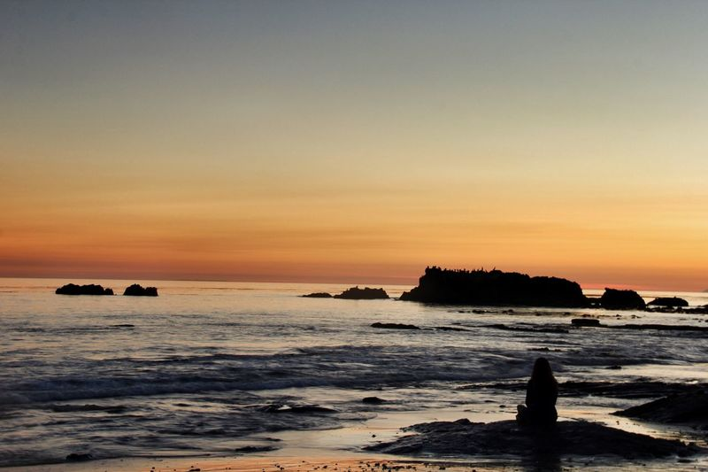 Miles Away Sea Sunset Beauty In Nature Horizon Over Water Water Nature Beach Rock - Object Scenics Sky Tranquil Scene Outdoors No People Day