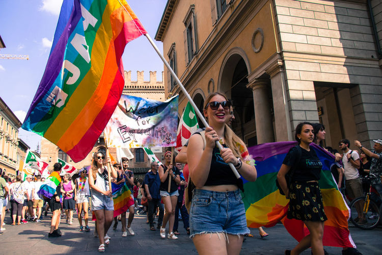 Gay Pride in Reggio Emilia ( 3rd June 2017 ) to protest against Xenophobia, Homophobia and for Gay Marriage and rightsThe Photojournalist - 2017 EyeEm Awards People Togetherness Multi Colored Group Of People The Street Photographer - 2017 EyeEm Awards Gay Pride Protest Fun Crowd Flag Love Peace