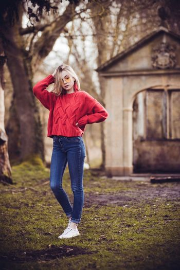 Ffion. Yellow Sunglasses White Shoes Jeans One Person Full Length Outdoors Casual Clothing Red Women Young Women Tree Cold Temperature Standing Nature Day