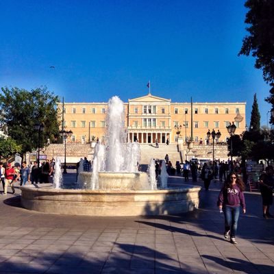The fountain at Syntagma Square...