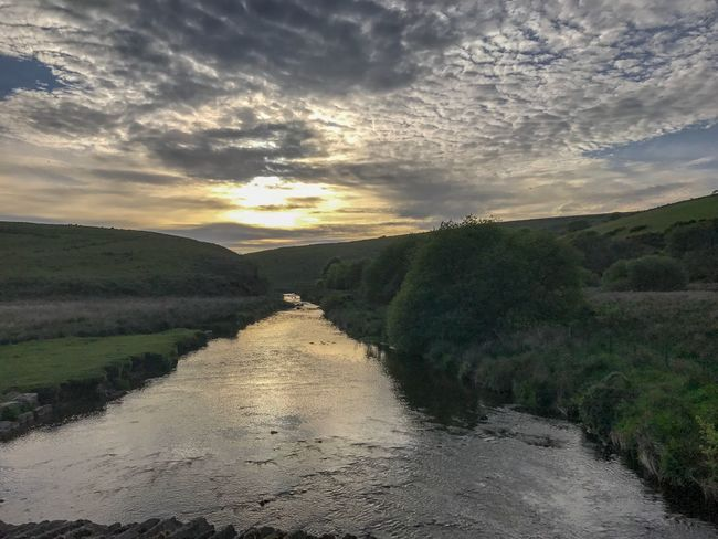 Stream Wallpaper Screen Saver EyeEm Best Shots Sun Going Down River Water Cloud - Sky Landscape Tranquility Tranquil Scene Beauty In Nature Scenics Nature Outdoors Sky