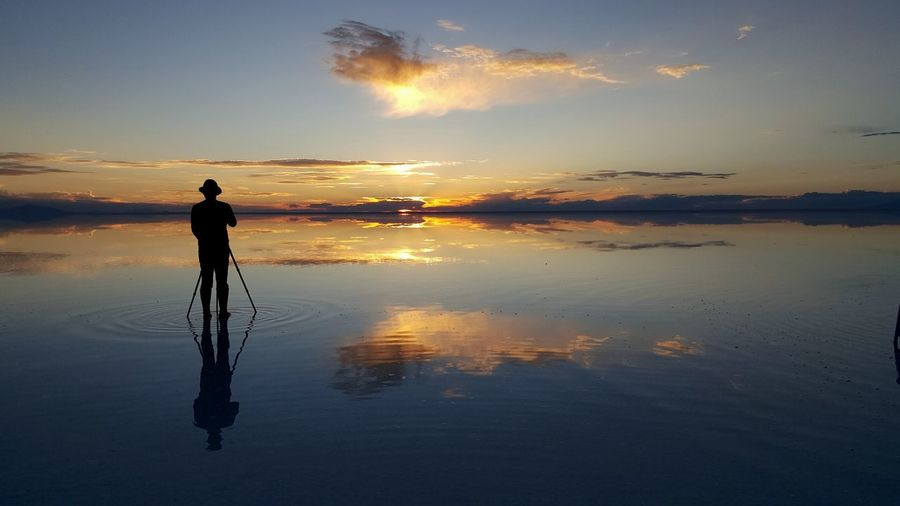 Tranquility Reflection Sunset Bolivia Uyuni Saltflat Landscape Photography Travel Simple Beauty Horizon Over Water Horizon Altitude Highland Colorful Moment EyeEm Nature Lover Silence Clouds And Sky