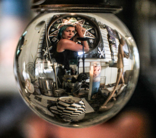 Circle Human Representation Indoors  Day Crystal Crystalball Looking Through An Object Looking Through Glass Tiina Beauty ArtWork Arts Culture And Entertainment Female Model Female Form San Diego California Escondido Dive Gallery Mix Yourself A Good Time