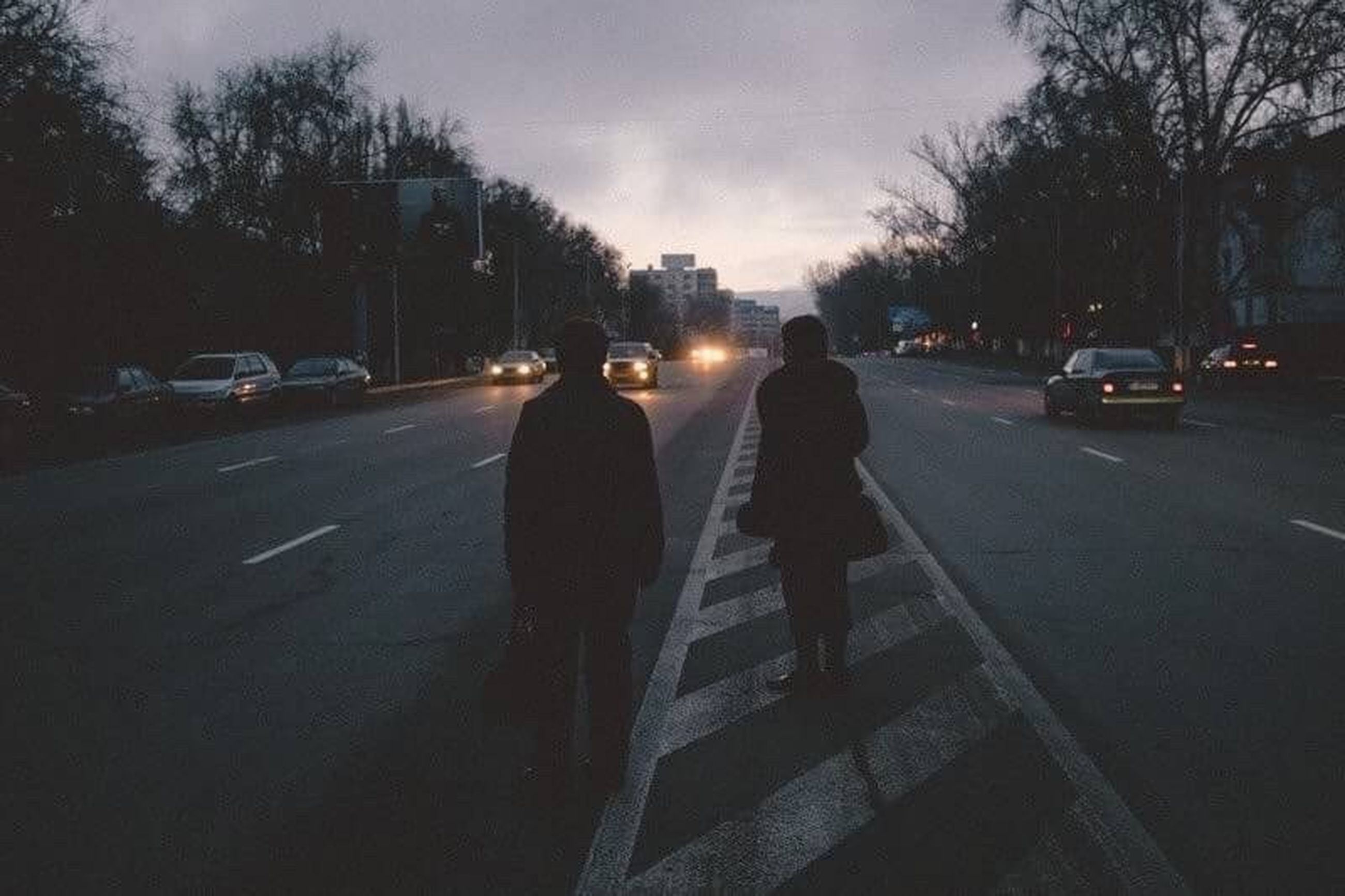 street, night, two people, only men, silhouette, outdoors, people, adults only, sky, adult