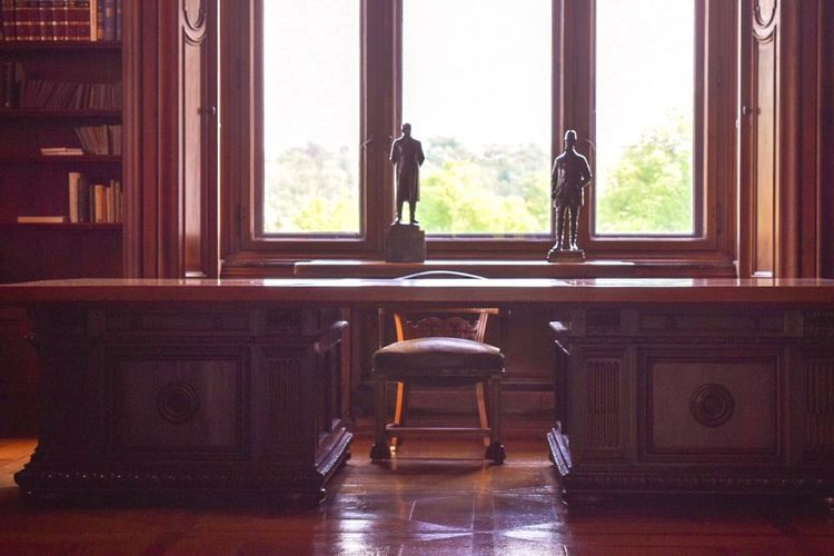 "The desk where world history was made in the Krupp house ""Villa Hügel"" History Historical Building Krupp Window Indoors  Home Interior Seat Table No People Chair Architecture Curtain"