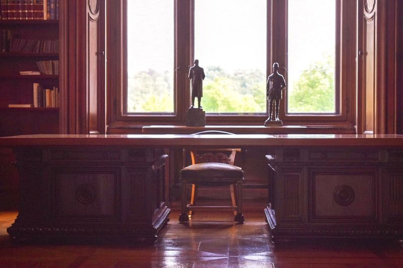 "The desk where world history was made in the Krupp house ""Villa Hügel"" History Historical Building Krupp Window Indoors  Home Interior Seat Table No People Chair Architecture Curtain #urbanana: The Urban Playground"