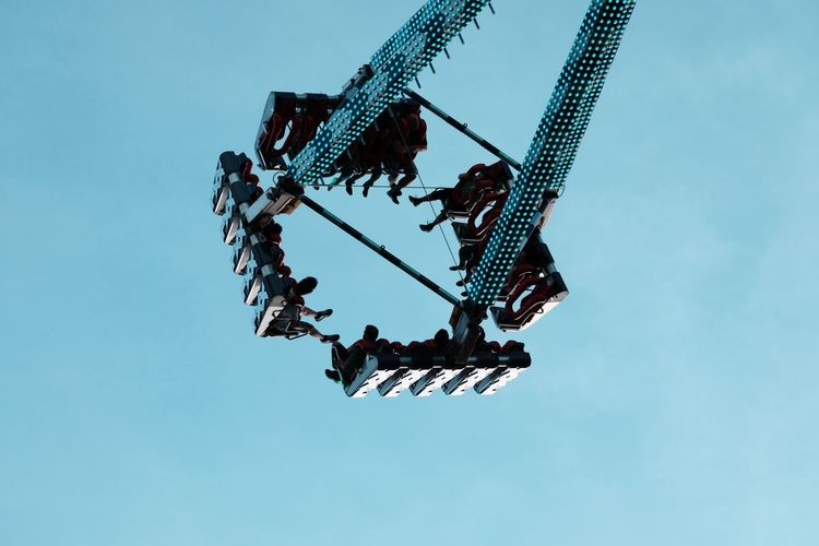 Amusement parc in Bad Dürkheim, Germany Excitements In The Air Amusement Park Amusement Park Ride Arts Culture And Entertainment Blue Enjoyment Fun Hanging Low Angle View Machinery Motion Sky Tall - High