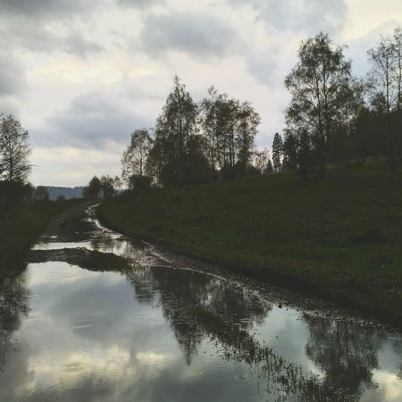 rainy day ☔☔ Rain Reflection Tree Water Cloud - Sky Sky Landscape Nature Outdoors Forest Beauty In Nature Flood Day The Best No People Photography My Photography 2017 Mine Myphoto Rainy Day Goodday Followme Poland Polska