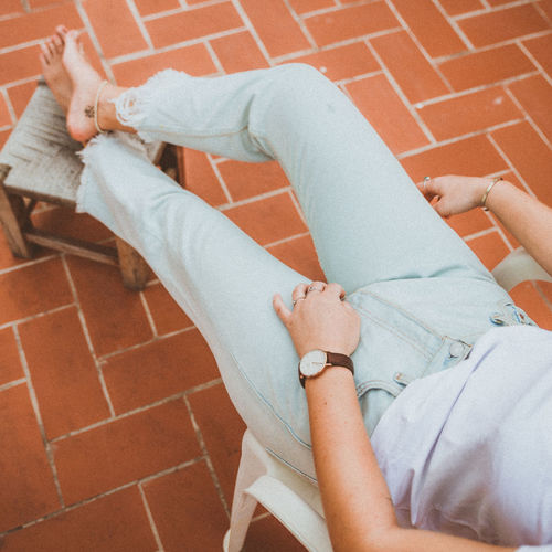 Chilling Jeans Relaxing Rooftop Summertime Balcony barefoot Casual Clothing Detail Details Girl High Angle View Human Body Part Leisure Activity Lifestyles People Real People Relaxation Summer Watch Women Young Adult Young Women