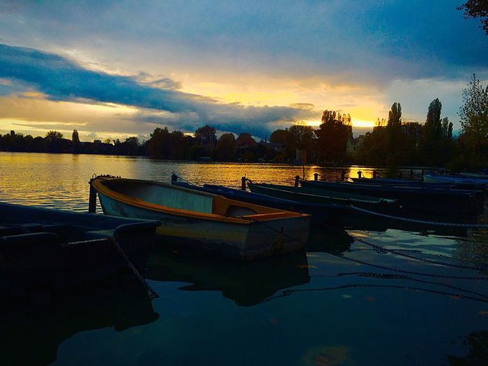 today after work i make this photo at lake off Enghien les bains Reflection Sunset Water Nautical Vessel Sky Mode Of Transport Transportation Building Exterior Outdoors Built Structure No People Lake Cloud - Sky Moored Silhouette Nature Architecture Scenics City Beauty In Nature