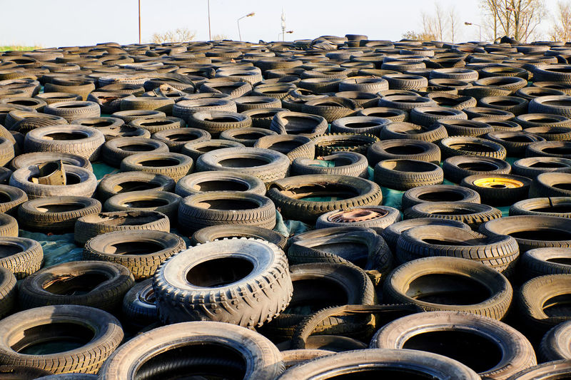View of abandoned tires outdoors