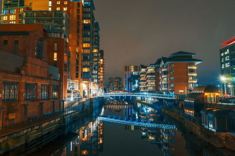 Manchester United Kingdom Architecture Bridge Bridge - Man Made Structure Building Building Exterior Built Structure Canal City Cityscape Connection Dusk England Illuminated Nature Night No People Outdoors Residential District Sky Water Waterfront
