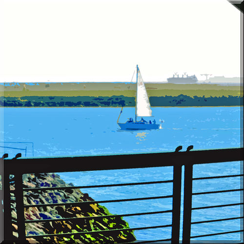 View Through Observation Tower 3 Middle Harbor Port Of Oakland Ca Embarcadero Cove Abstract Creative Edit CutOut Sailboat Freighter Alameda Shoreline Rock Lined Shore Inlet Waterfront Water Handrails People On Sailboat View From 1st Level Of Tower