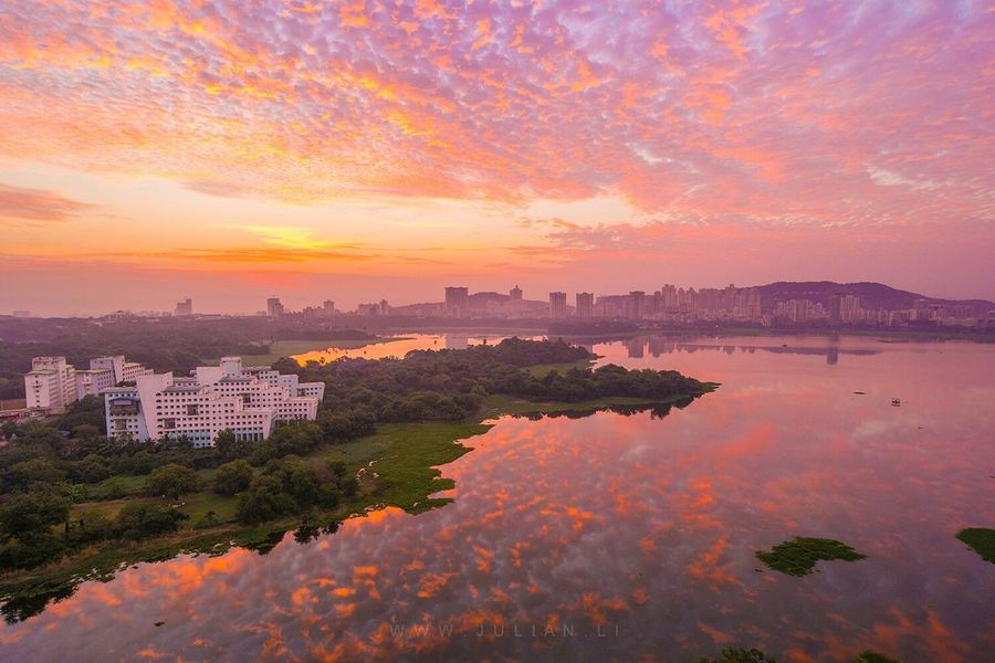Woke up at about 6am to have a look at the sunrise over lake Powai in Mumbai.. its a man made lake that contains crocodiles but it doesnt seem to stop the locals fishing in it which is another photo altogether... I will share it later Mumbai India Aerial Shot The Great Outdoors - 2015 EyeEm Awards