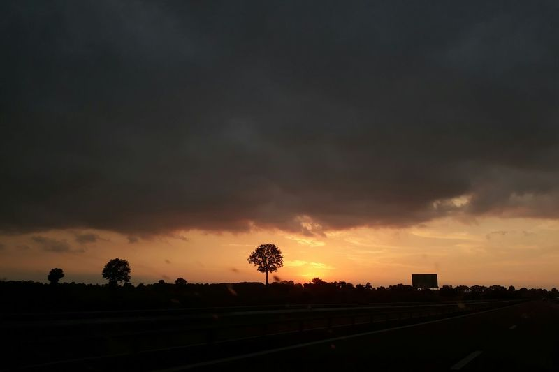 Sunset Sunset_collection Crepuscular Light Crépuscule Nature_collection Landscape Beauty In Nature Tree Outdoors Tranquility Tranquil Scene Sky Beautiful Nature Colorful Clouds And Sky Light In The Darkness On The Road Nofilter