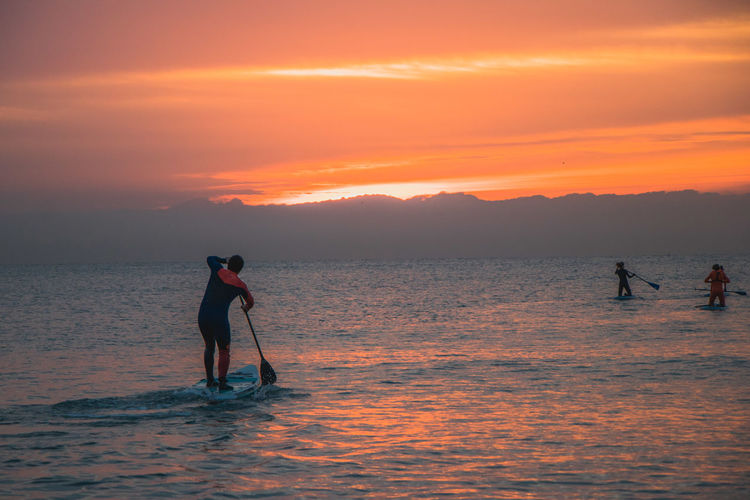 Surifng in Barcelona, sunrise and happy friends Barcelona Calm Surf Beach Beauty In Nature Cloud - Sky Leisure Activity Lifestyles Men Nature Orange Color Outdoors Paddleboarding People Real People Scenics - Nature Sea Silhouette Sky Sport Standing Sunrise Sunset Surfing Water