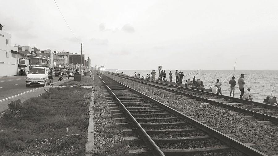 Train Lights Train Blackandwhite Monochrome Railroad Track Fishing Shore