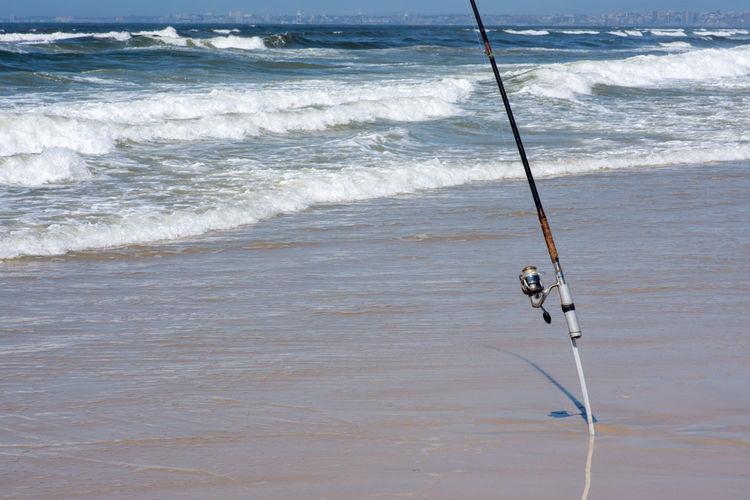rod Sea Water Land Wave Beach Motion Sport Surfing Nature Aquatic Sport Day Beauty In Nature Fishing Rod Outdoors Rod Scenics - Nature High Angle View