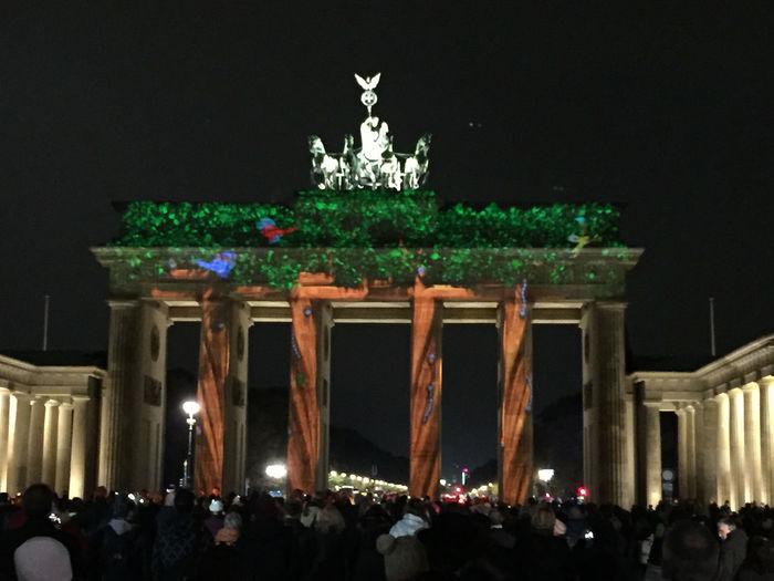 Architecture Art Art And Craft Berlin Brandenburg Gate Brandenburger Tor Building Exterior Built Structure Creativity Cultures Festival Of Lights Festival Of Lights 2015 Illuminated International Landmark Low Angle View Sculpture