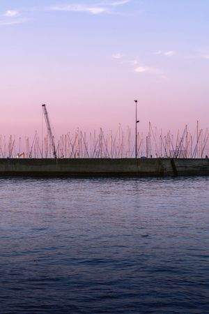 Blue Hour Sunset Gradient Mast Boat Brittany Seaside Sea Dock Harbor Sky Water Waterfront Nature Sunset Beauty In Nature No People Tranquil Scene Rippled Outdoors