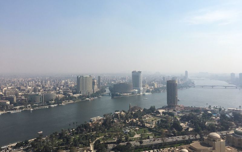 Cairo River Nile Egypt Cairo Building Exterior Architecture City Built Structure Cityscape Water Sky High Angle View