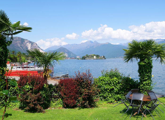 Isola Bella Stresa Italy Beauty In Nature Chair And Table In The Garden Cloud - Sky Exotic Trees Green Color Growth Italy Lago Maggiore Mountain Nature No People Outdoors Palm Tree Plant Recreation Area Scenics - Nature Sea Sky Tranquil Scene Tranquility Tree Tropical Climate Water
