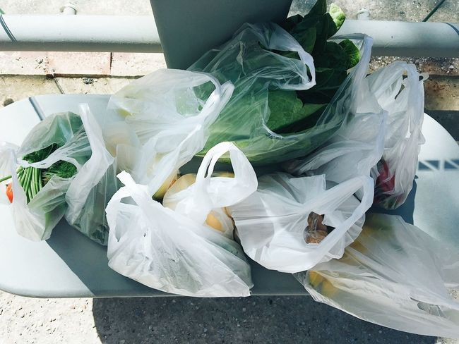 Farmers Market Market Plastic Bag Shopping Vegetables & Fruits Bag Bus Stop Plastic Vegetable Waiting For A Bus