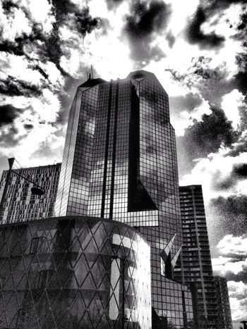 Inthecity  Paris Towers Black And White Clouds Reflects Architecture B&w