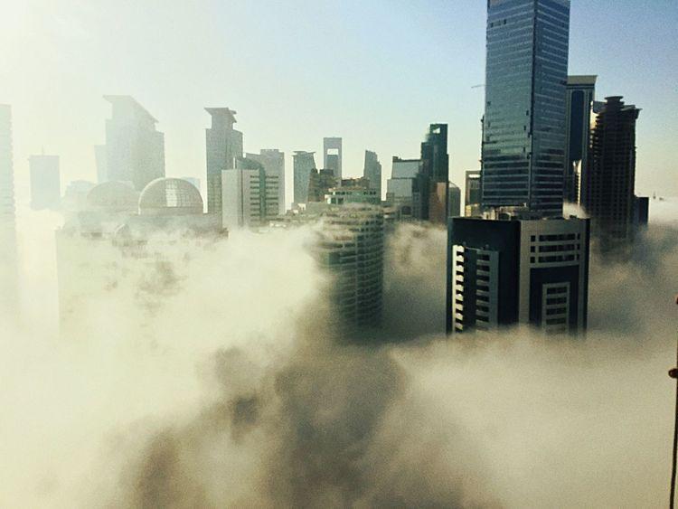 Foggy Morning Doha Skyline Happy New Year