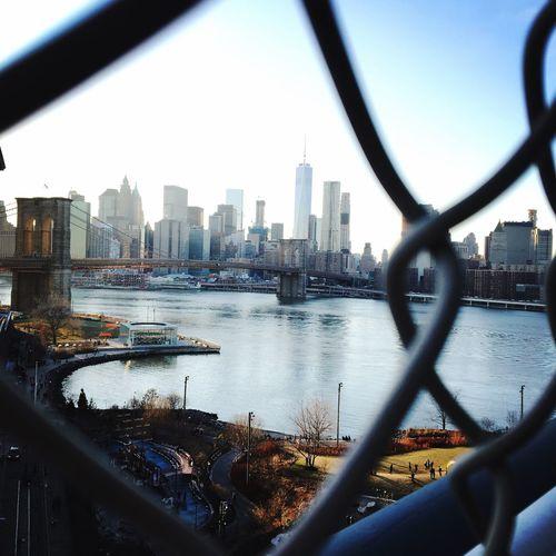 Through net NYC Manhattan Bridge Achitecture Sunday Broklyn Bridge