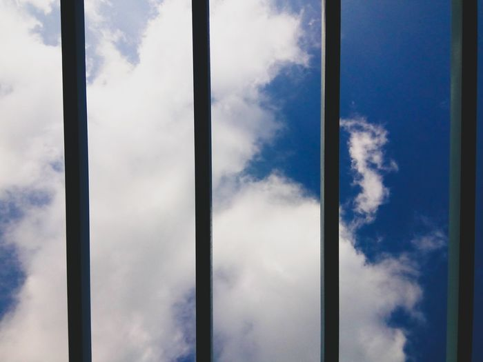 Jailed Cloud - Sky Window No People Indoors  Sky Day Blue Bars Outdoors Clouds Clouds And Sky Cloudscape