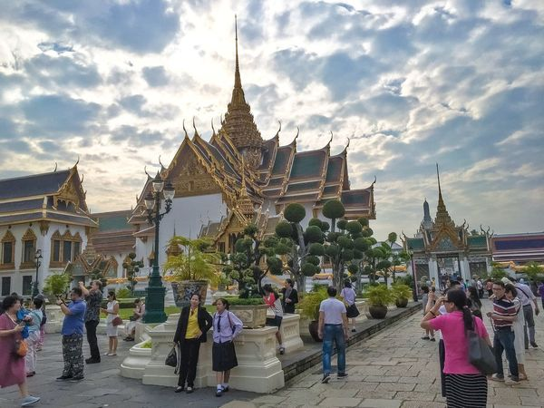 Architecture Buddhism Buddhist Buddhist Temple Building Exterior Built Structure Cloud - Sky Famous Place History Large Group Of People Leisure Activity Lifestyles Men Person Place Of Worship Religion Sky Spirituality Thai Tourism Tourist Travel Travel Destinations