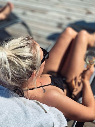High angle view of woman relaxing outdoors