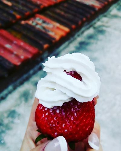Strawberry Sweet Food Human Hand Human Body Part Outdoors Ready-to-eat People Close-up Artfood Food And Drink Food Unhealthy Eating Freshness Temptation One Person Day