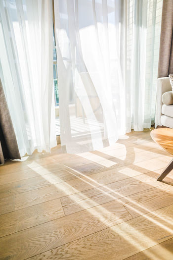 White wooden floor at home