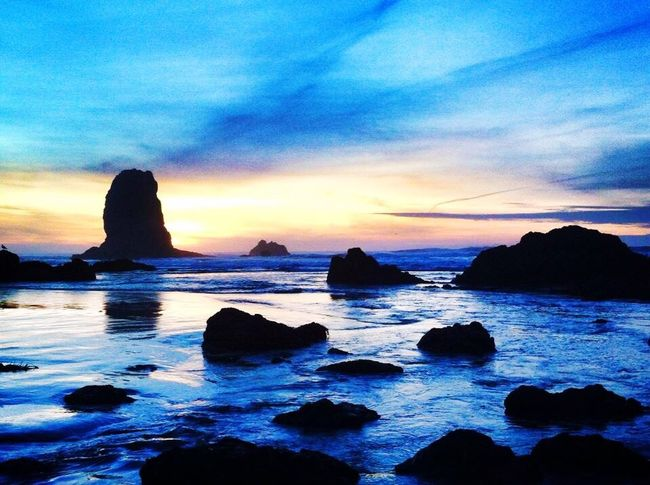 Sea Rock - Object Ocean Tranquil Scene Beauty In Nature Nature Rock Formation Sunset Scenics Blue Purple Sky Tranquility Beach Idyllic Awesome Ocean Sea Stack Travel Destinations Stack Rock Awesome_shots Awesome Ocean Beautiful Beaches Beautiful Beach Best Sunrises And Sunsets Cannon Beach
